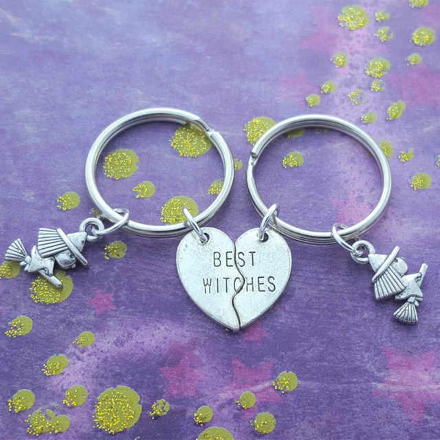 1 ชุดแม่มดที่ดีที่สุด Keychains, แม่มดเพื่อน, Pagan ของขวัญ, Wicca พวงกุญแจ, แม่มดบนไม้กวาด, ของขวัญน่ารัก, หัวใจที่ดีที่สุด