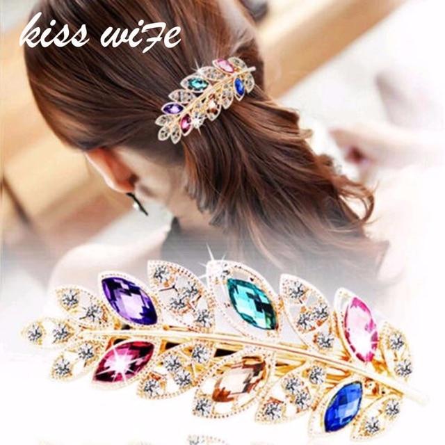 KISSWIFE 1 PC Beauty Women Fashion Hair Clip Leaf Crystal Rhinestone Barrette Ha