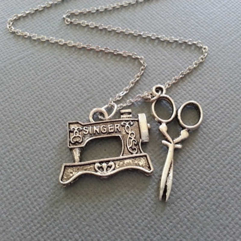 The Sewer's Necklace Sewing Machine and Scissors in Antique Silver Charms Jewelry Handmade Necklace Christmas gifts