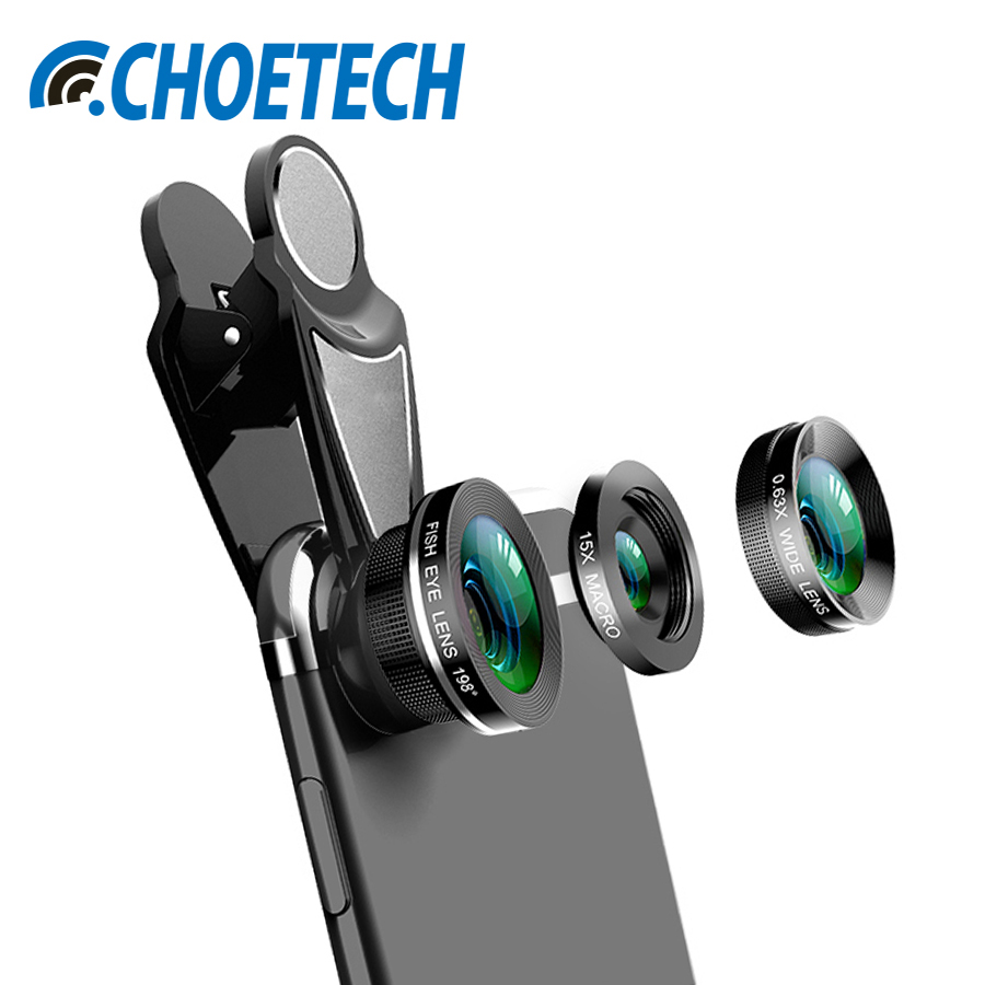 CHOETECH Phone Camera Lens Kit 0.63X Super Wide Angle Lens & 15X Macro Lens & 198 Degree Fisheye Lens For iPhone X 8 7 Xiaomi