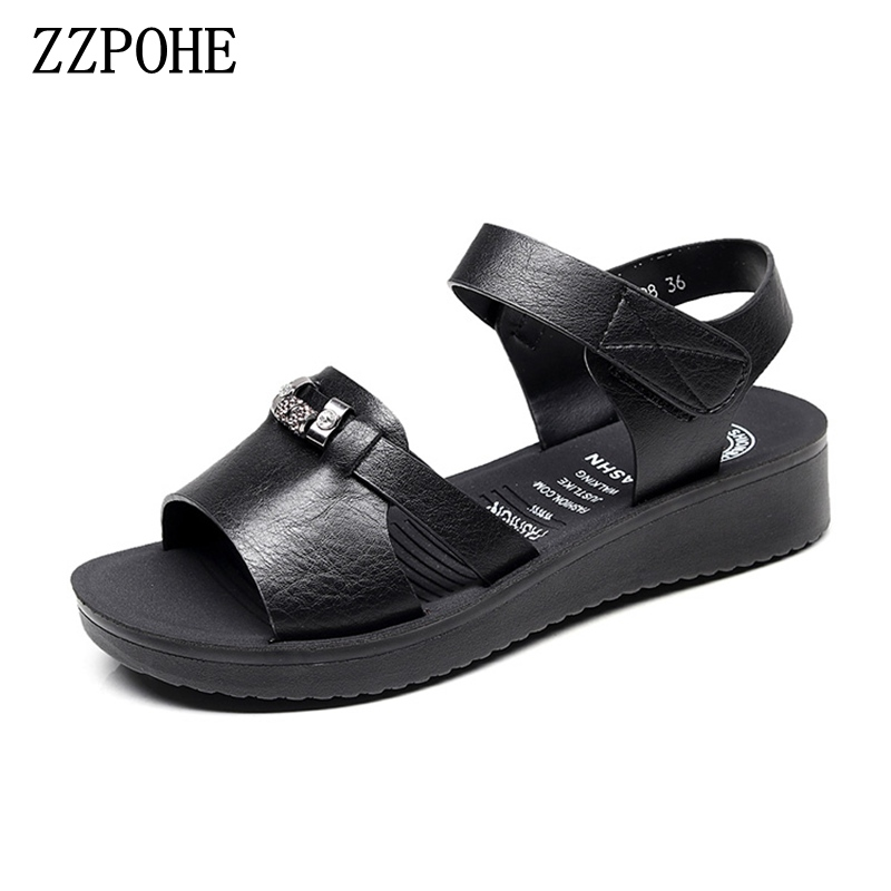 ZZPOHE 2018 Summer new mother sandals soft soles comfortable Ladies fashion PU leather sandals Women Sandals Plus size 35-41 zzpohe 2017 summer new mother sandals elderly fashion casual leather female flat sandals hollow large size women sandals 41 42