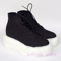 Princess sweet punk shoes loliloli yoyo Japanese design custom black flock ankle high lace up wedges short boots 4174