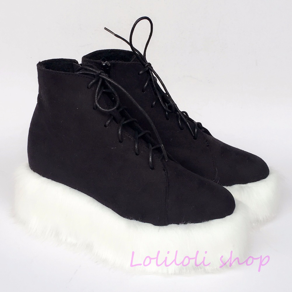 Princess sweet punk shoes loliloli yoyo Japanese design custom black flock ankle-high lace-up wedges short boots 4174