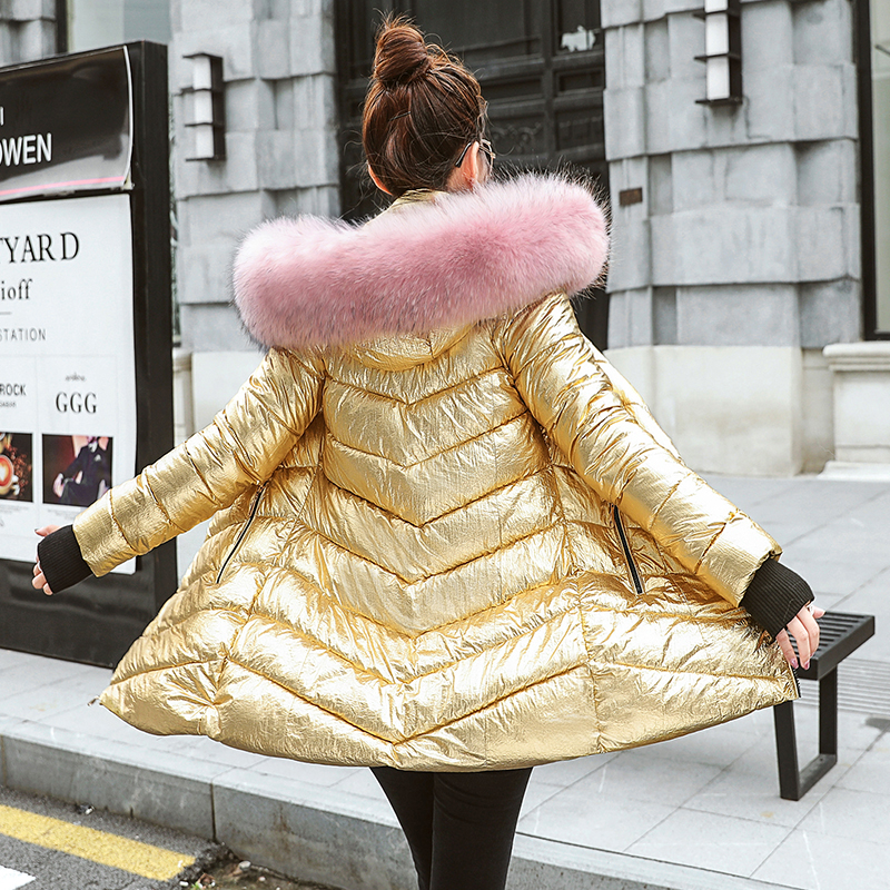 Women s down jacket Fur Collar Silver Women s Length silver down jacket Warm Coat for