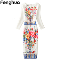 Fenghua Summer Dress Women 2017 Sexy Casual Floral Print Dress Vintage Three Quarter Sleeve Office Pencil
