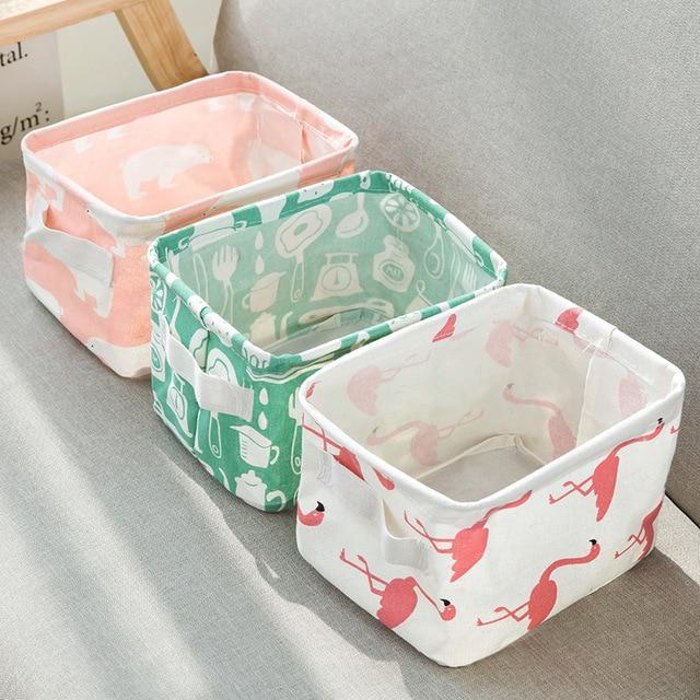 Desktop Storage Basket Cute Print Waterproof Organizer Cotton Linen 1