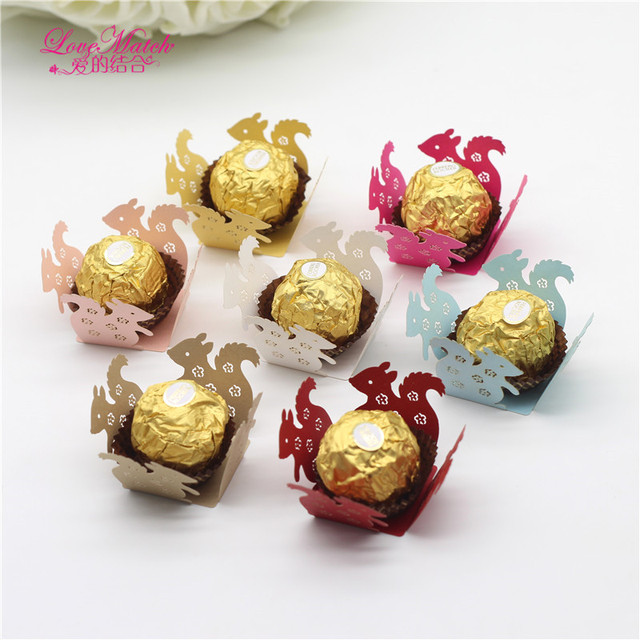 Love Match 50Pcs Squirrel Chocolate Bar Birthday Party Favors Candy Box Bar Baby Shower Paper