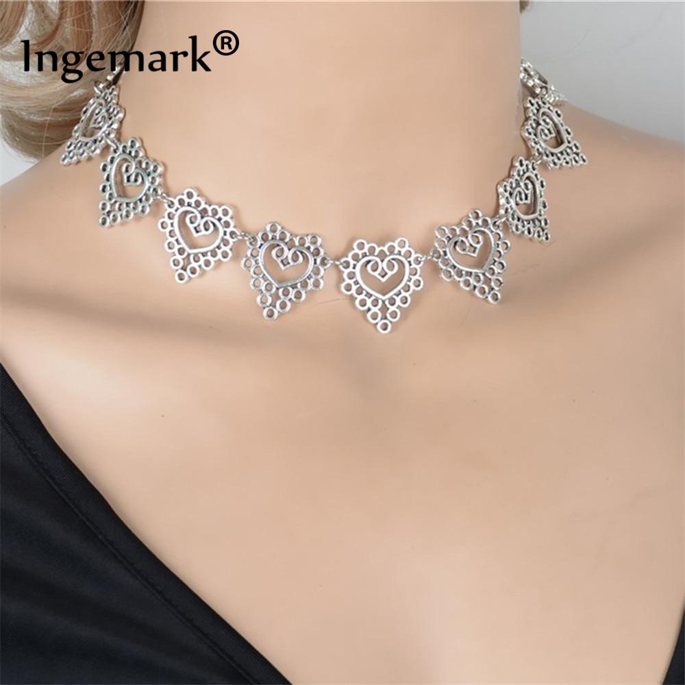Korejiešu saldās sirds kaklasaites kaklarota Boho senās sudraba dobās sirds ziedu krāsas Clavicle ķēdes kaklarota rotaslietas draudzenei