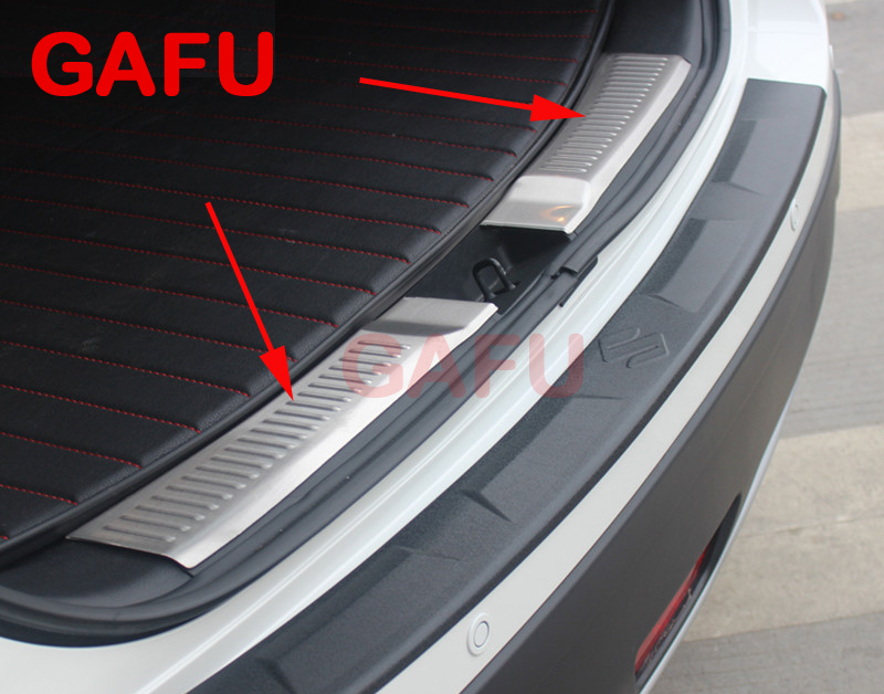 For Suzuki sx4 S-Cross 2013 2014 Car Rearguards Stainless Steel Rear Bumper Trunk Fender Sill Plate Protector Guard Covers for nissan x trail t32 2014 2018 car rearguards stainless steel rear bumper trunk fender sill plate protector guard covers trim