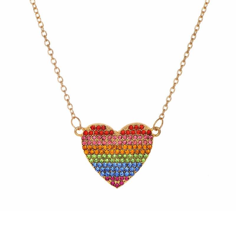 Модное ожерелье с подвеской для глаз для женщин, ожерелье с кристаллами, сексуальные персонализированные чокеры, короткая цепочка на ключицы, ювелирные изделия - Окраска металла: color heart