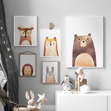 Fox Deer Bear Rabbit Wall Art Canvas Painting Nordic Posters And Prints Nursery Art Print Wall Pictures For Baby Kids Room Decor цена и фото