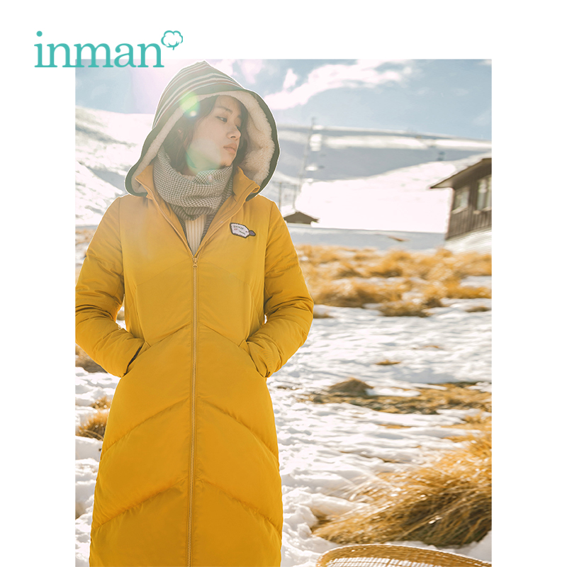 INMAN Winter New Arrival Female Contrast Color Striped Plus Velvet Hooded Slim Long Section Women   Down     Coat