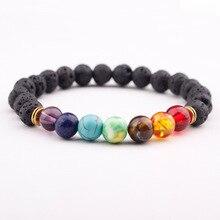Chakra Stones With Lava Beads Bracelet