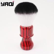 Yaqi الشر زيبرا 26 مللي متر عقدة الأسود والأحمر مقبض فرشاة الشعر الاصطناعية الحلاقة