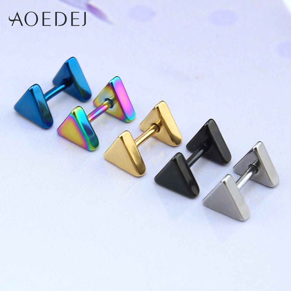 - 5-10mm Triangle Mens Earrings Black Stud Stainless ...