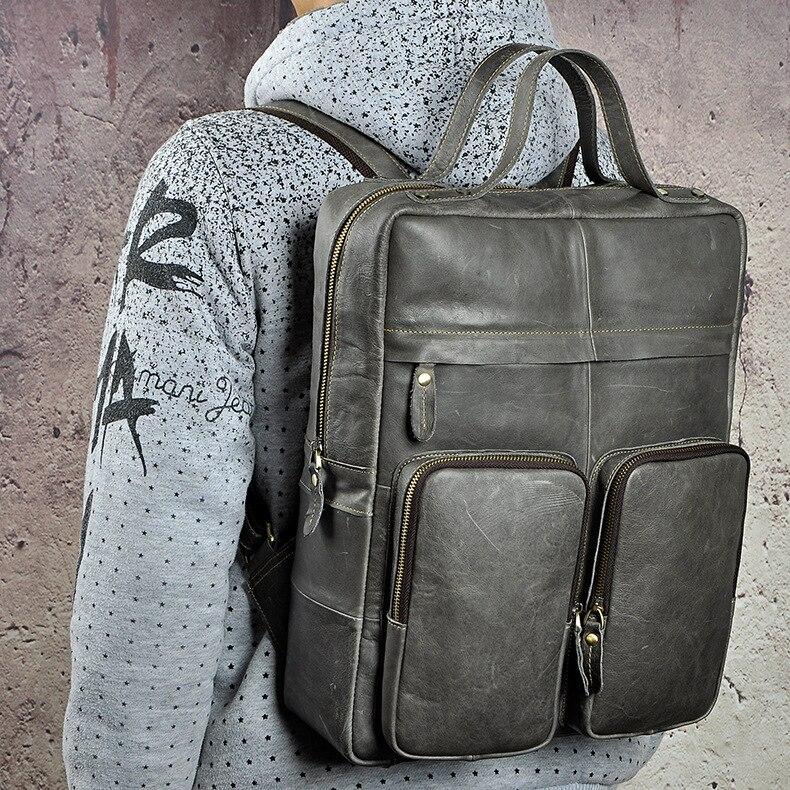 Hommes Crazy Horse sac à dos en peau de vache ordinateur portable livre sacs voyage grande capacité sac à dos école en cuir véritable sac à dos sac à dos - 3