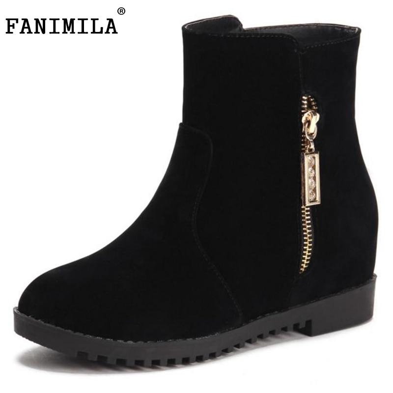 FANIMILA Shoes Women Ankle Wedges Boots Round Toe Side Zipper Warm Short Plush Autumn Winter Leisure Ladies Footwear Size 34-39