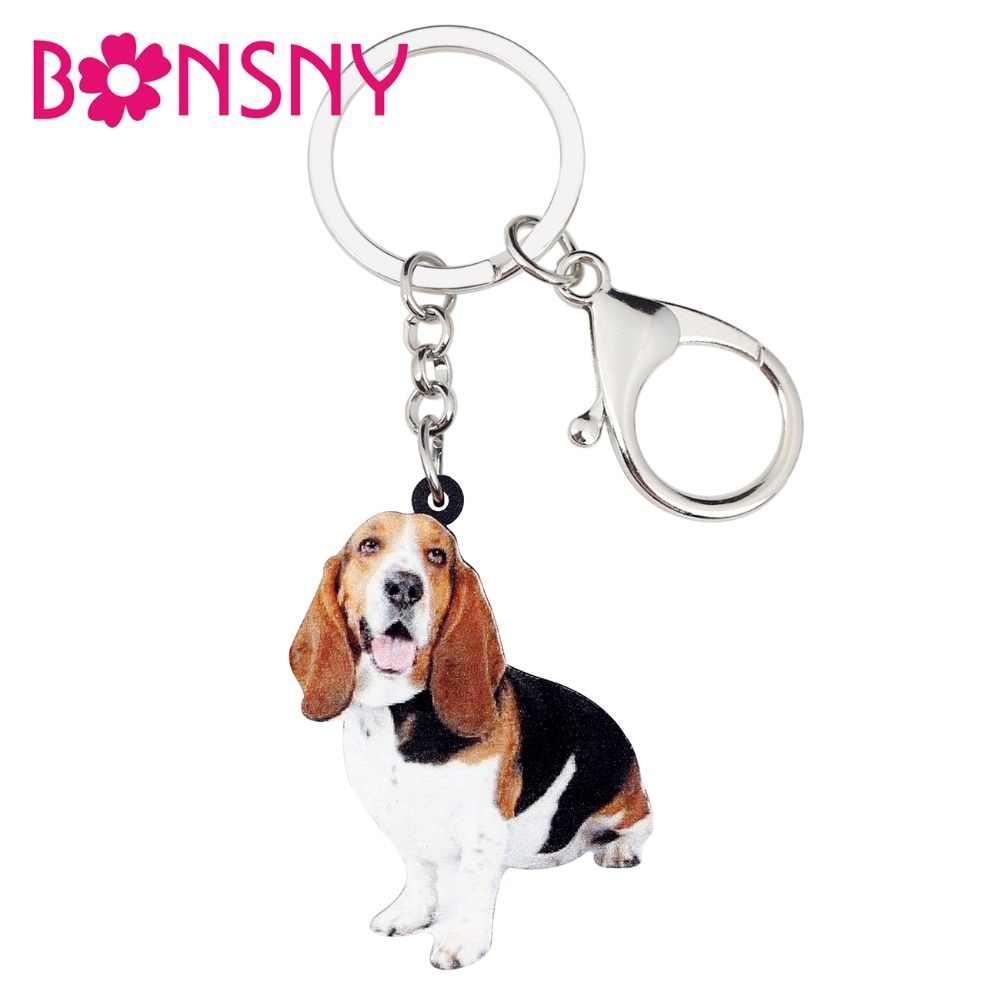 Bonsny Bildirimi Akrilik Basset Hound Köpek Anahtarlık Anahtarlık Halkası hayvan figürlü mücevherat Kadınlar Kız Bayanlar Için Çanta Araba Çanta Takılar Hediye