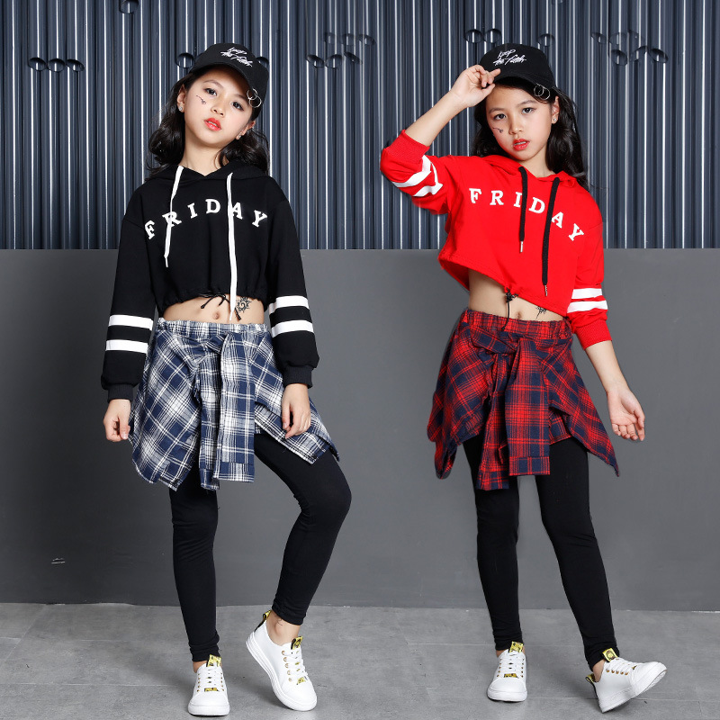 Red Black Sweatshirt Culottes Dancing Suit Jazz Hip Hop Clothes Kids Girls Street Dance Costume Clothing Children Stage Wear
