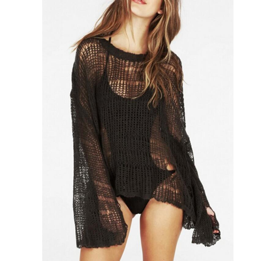 Beach Sexy Hole Sweater Asymmetric Hem Loose Knitted Crochet Heart Shape Hollow Out Thin Knit Sweater Jumper Tops Holiday