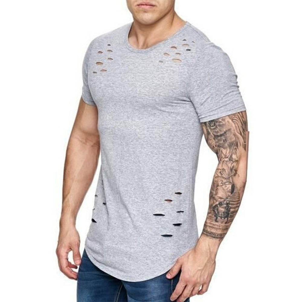 2018 Plus Size 3XL Summer Ripped Hole T Shirt Men Casual O Neck Short Sleeeve T-Shirt Breathable Hip Hop Tshirt Men's Top Tee