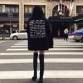 Outono inverno quente Carta Printted camisola do hoodie das mulheres 2016 de manga comprida casual solta topos de jumper pullover Preto