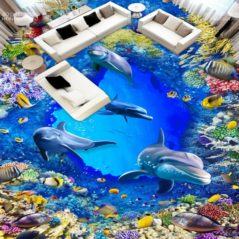 ФОТО Free Shipping 3D flooring painting wallpaper Underwater World Dolphin Coral Bathroom Living Room Floor mural