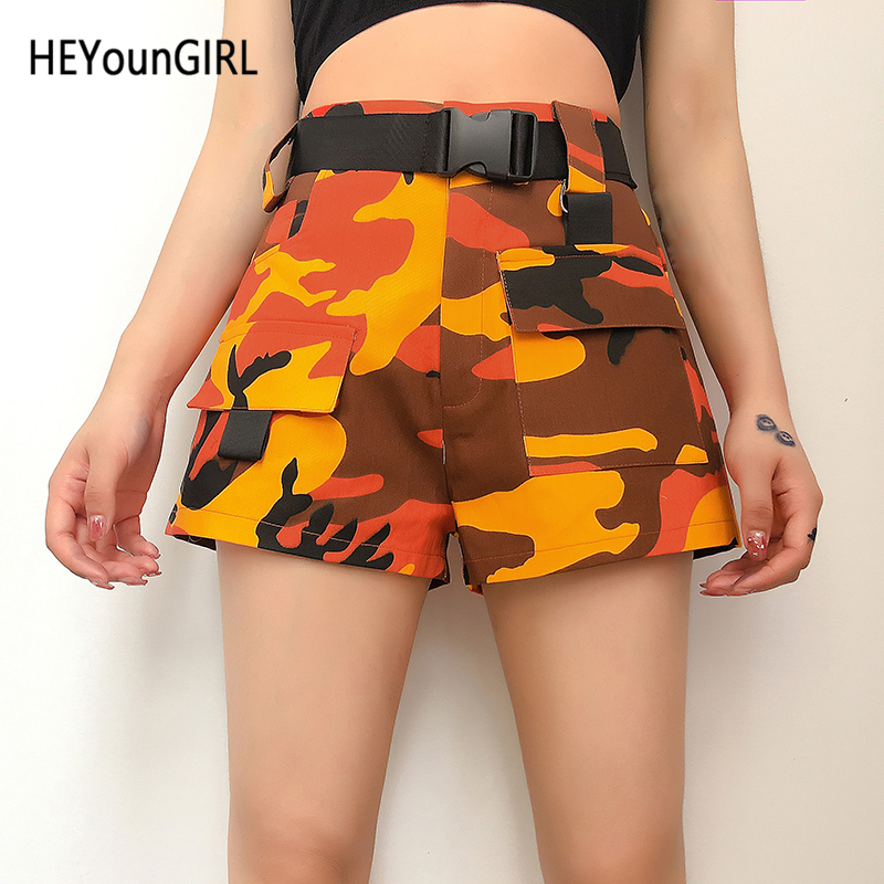 HEYounGIRL Camouflage Harajuku High Waist Shorts Women Print Camo Casual Jeans Shorts Hip Hop Denim Short Pants With Belt Summer