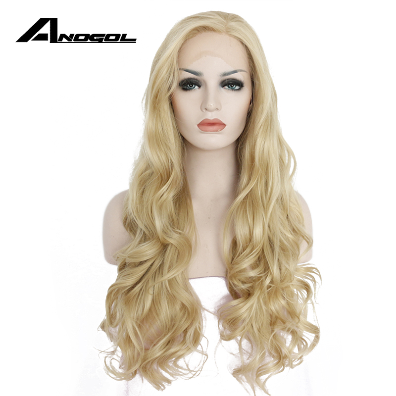 Anogol Side Part High Temerpature Fiber Blonde Natural Long Body Wave Synthetic Lace Front Wig For Women