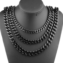 Granny Chic New Fashion 9/11/13/15mm Stainless Steel Miami Curb Cuban Chain Necklaces Mens Lock Clasp Black Punk jewelry