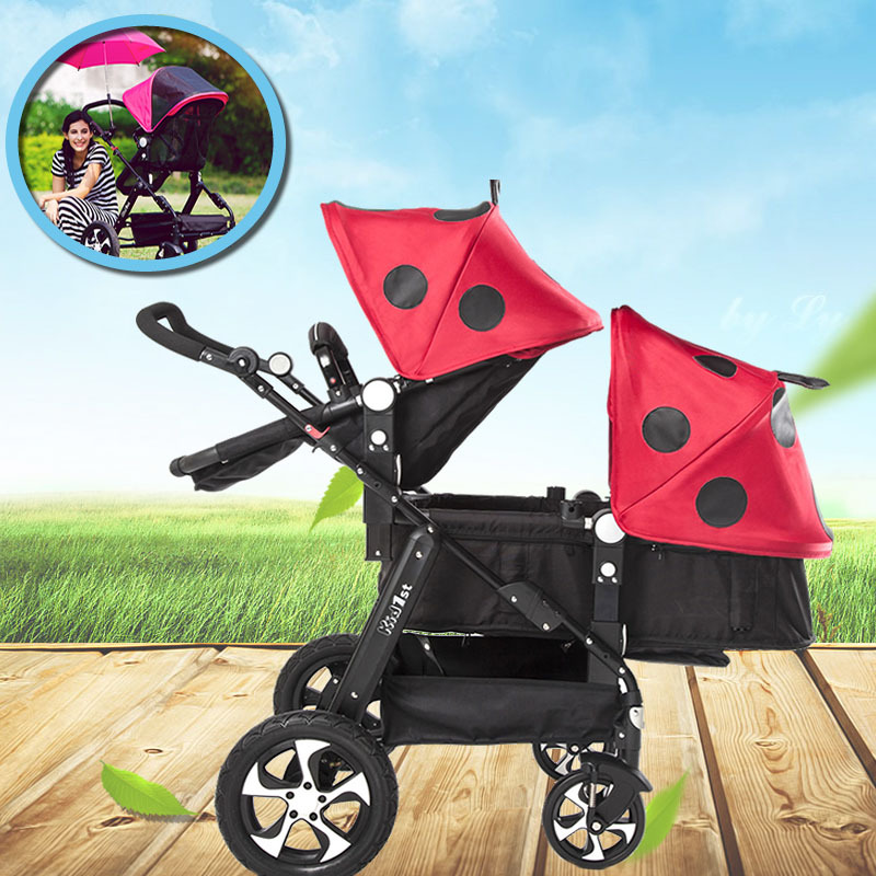 2019 New Upgrade Twin Baby Strollers Can Sit Reclining High Landscape Folding Shock Absorber Light Baby Carriage Infant Trolley