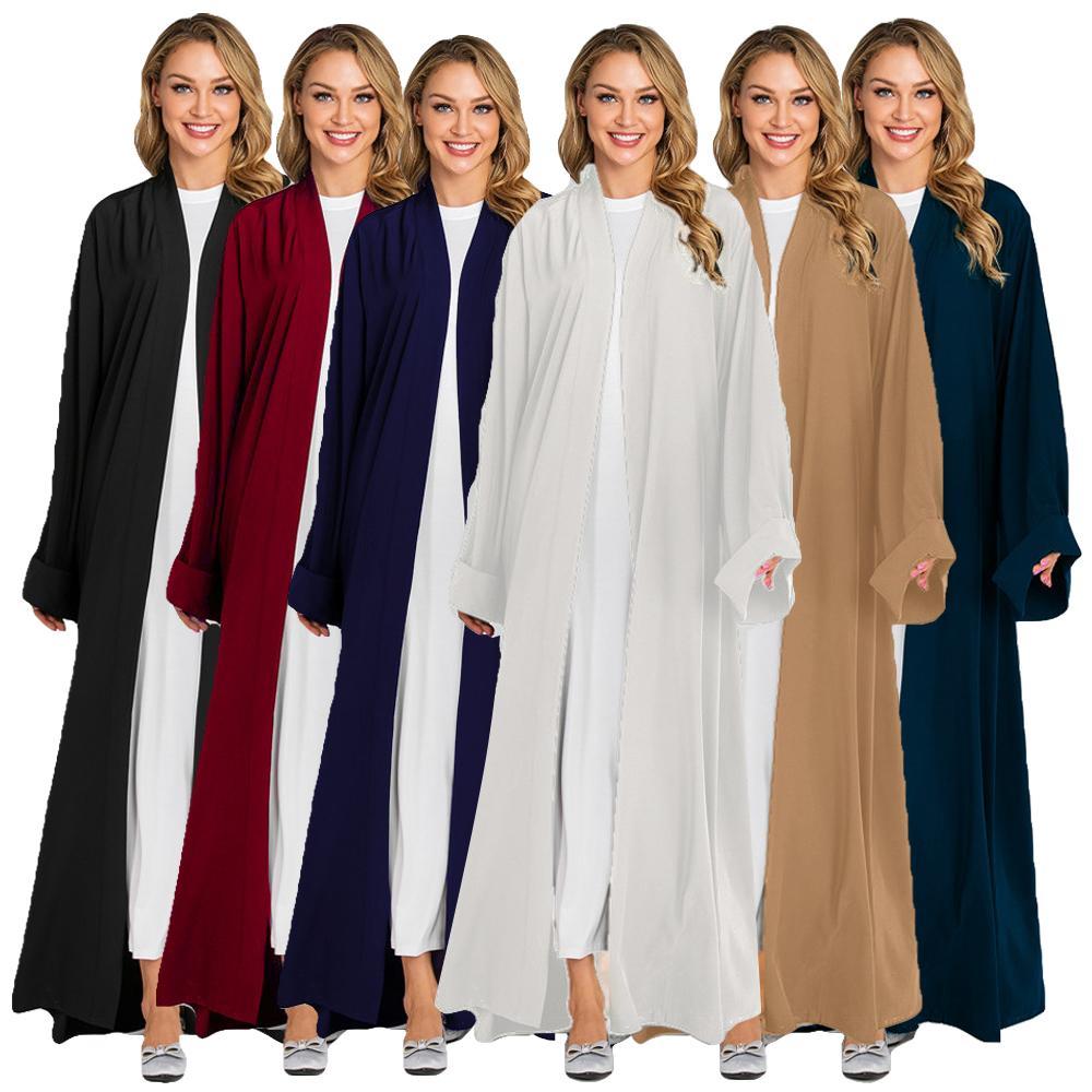 Vestido dos Muçulmanos para as Mulheres Nova Frente Aberta Cardigan Kimono Maxi Abaya Dubai Cor Sólida Manga Comprida Árabe Robe Vestido Meio Leste
