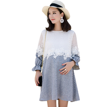 PLAMTEE Bloom Lace Printting Maternity Dresses New Spring Stitching Handy Long Sleeves Dress For Pregnant Stripe Roupa Gestante