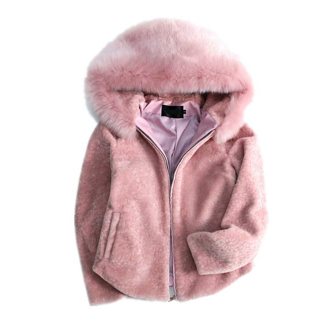 8c1ef25d17cc68 Winter New Faux Fox Long Sleeve Women Fur Coat Hooded Zipper Classic Soft  Pink Warm Practical Fur Jacket Thicken Coat