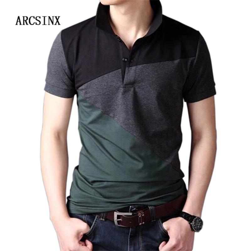 ARCSINX Short Sleeve   Polo   Men Large Size 6XL 5XL 4XL Fashion Patchwork Cotton   Polo   Shirt Men Brands Summer Slim Fit Man   Polos