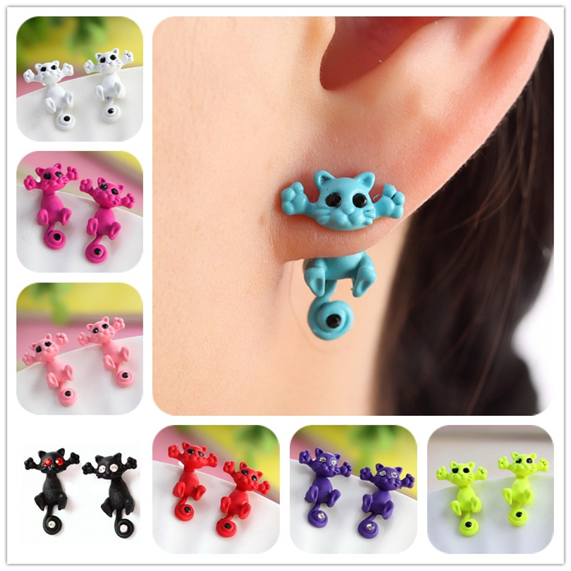 12 style Fashion Colourful bijoux 3D Black eye Cute Small Cat Stud Earrings For Women Fine