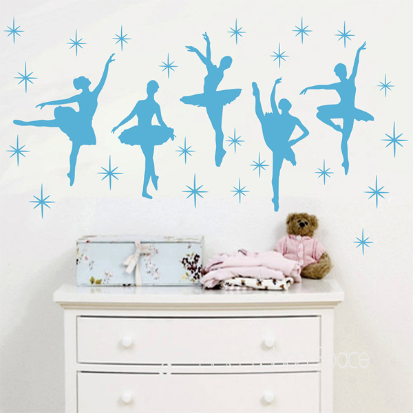 Elegantly Ballet Dance Ballerinas Stars Custom Vinyl Wall Decals - Custom vinyl wall decals saying