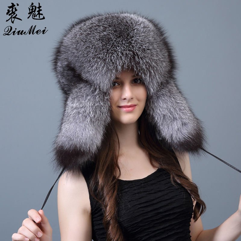 Genuine Fur Bomber Hats For Women Winter Warm Real Raccoon Fur Trapper Hat Caps 2018 Fashion Russian Style Thick Fur Bombers Hat(China)