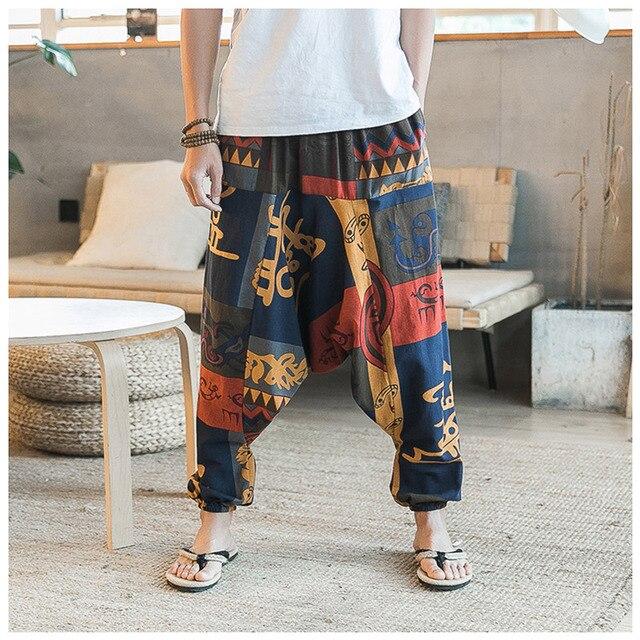07d2c11e8c2 New Hip Hop Aladdin Hmong Baggy Cotton Linen Harem Pants Men Women Plus Size  Wide Leg