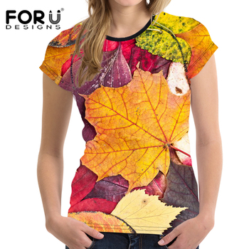 FORUDESIGNS 2018 Summer Women Casual T Shirt Short Sleeved Woman Top 3D Printing Tees Female Shirt Slim Elastic Feminine Clothes 1
