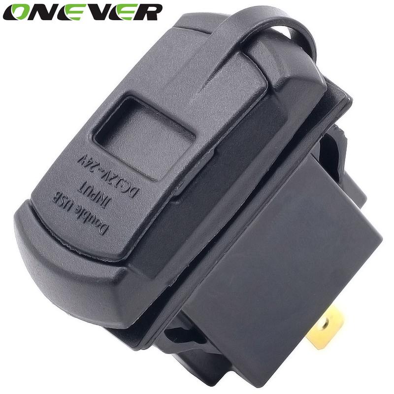 Prix pour 12-24 V 4.2A Dual USB Port Téléphone Chargeur De Voiture Socket Adaptateur Charge rapide Bleu Rouge LED Voltmètre pour Voiture Bateau Motos panneau