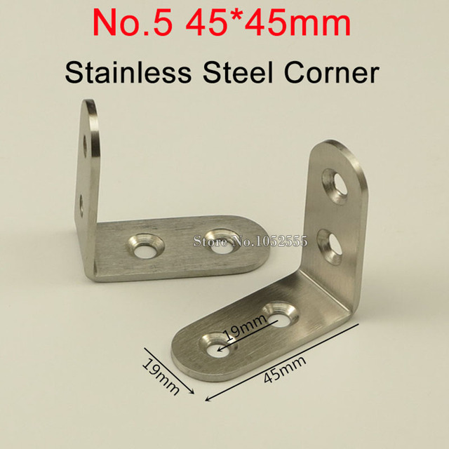 HOT 500PCS Stainless Steel Corner Brackets 45*45mm Right Angle ...