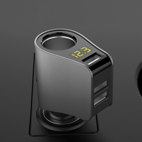 BIBOVI Car Charger LED Digital Display 3 USB Charging Lighter Slot For IPhone IPad Samsung Xiaomi