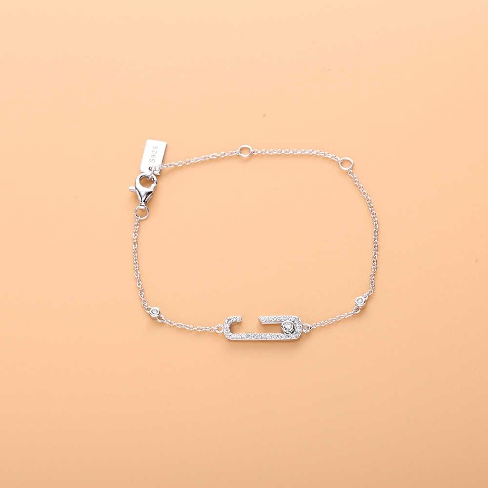 Slovecabin 925 Sterling Silver francja 2018 nowy Rock biżuteria poruszać się uzależnienie od Pave bransoletka żółty złoty Rock przenieść cyrkon bransoletki