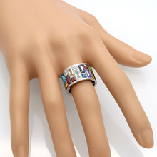 Fashion Christmas best gifts stianless steel Rings, lord of the ring women bag Exquisite multicolor Rainbow crystal anel bijoux