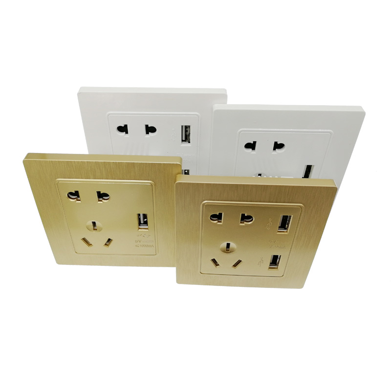 USB Port Wall Charger Adapter Charging 2A Wall Charger Adapter EU Plug Socket Power Outlet Panel Grounded Electric Gold/White