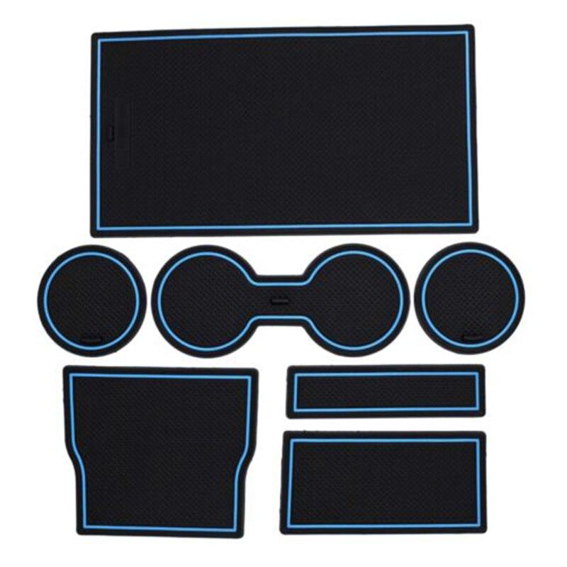 7pcs Car Console Wrap Mat Non-Slip Gate Slot Center Protective Cup Holder Pads For Tesla Model 3 2017 2018 2019 2020 Black Blue