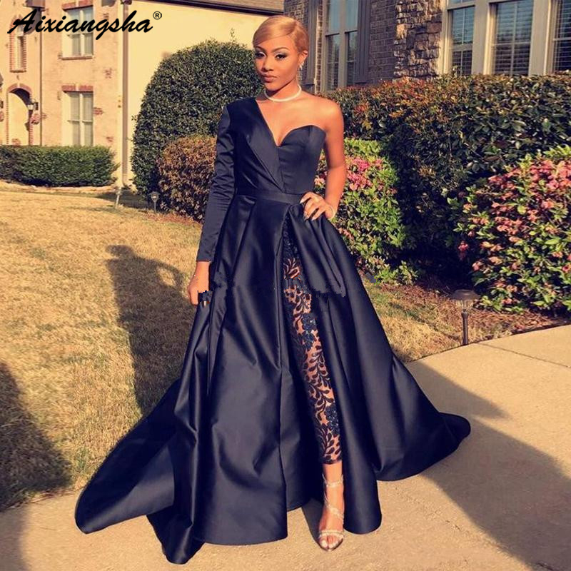 Sexy Plus Size Long Evening Dresses One Shoulder Single Long Sleeves Satin Lace Floor Length Black