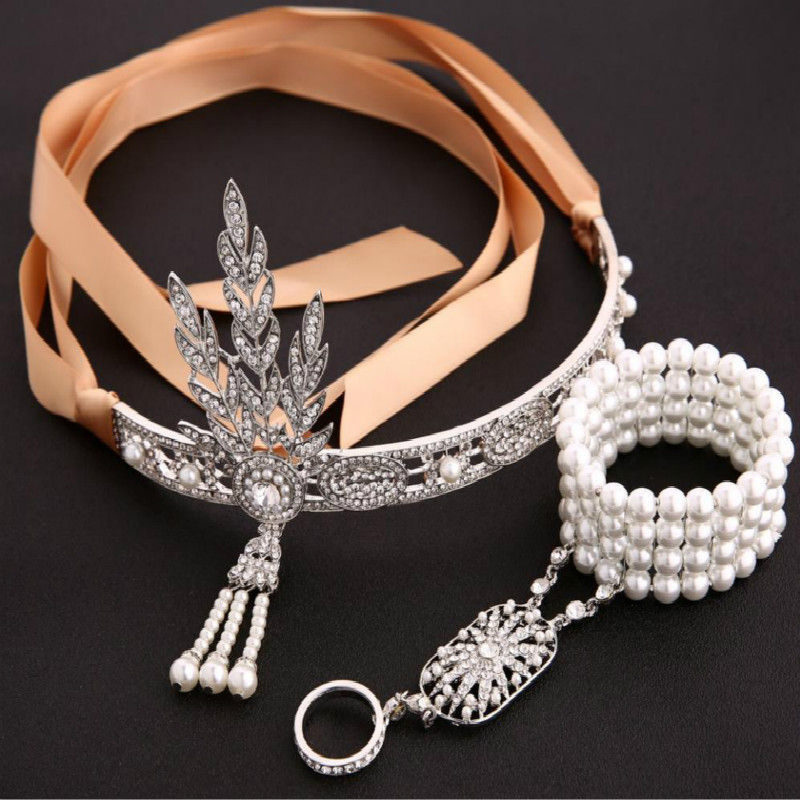 The Great Gatsby Bridal Hair Accessories Crystal Pearl Tassels Hair Headbands Hair Jewelry Wedding  Crowns