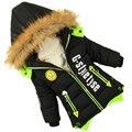 Meninos jaqueta de inverno criança do sexo Masculino amassado roupas jaqueta infantil jaqueta grossa casaco de longo parka crianças do bebê do algodão-roupas de algodão acolchoado
